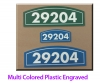 Routed recycled, 2 color plastic building unit signs. 50 year outdoor durability,maintenance free
